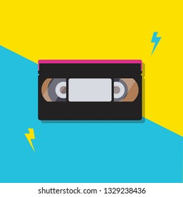 Stack of video cassette tapes. poster vector illustration