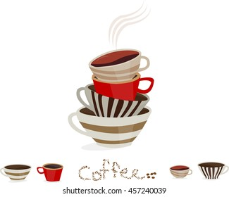 Stack of vintage colorful coffee cups on a white background