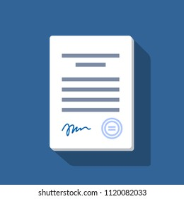 Stack of white papers. Documents with signature and text. Isolated vector illustration in flat design.