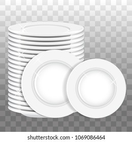 Stack of white plates and two plates isolated. Vector illustration.