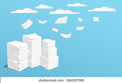 Stack of white sheets and flying paper in blue background with clouds on blue sky