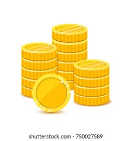 Stack yellow coins in a flat style. Pile of money vector illustration. Income or profit icons concept.