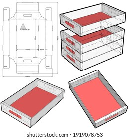 Stackable Retail Double Edge Box and Die-cut Pattern. The .eps file is full scale and fully functional. Prepared for real cardboard production.