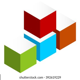 Stacked 3D cubes colorful icon on white. Isometric cubes.