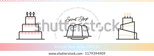 Stacked birthday cake badge dessert with color decor line art vector icon for sweet shop sign and cafe app. Icons header.