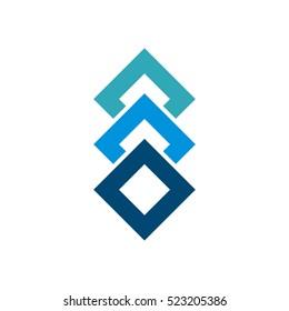 Stacked Blue Box Diamond Shape Logo Template