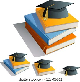 Stacked Books and Graduation Cap