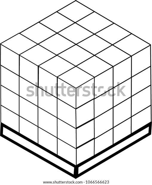 Stacked Boxes On Pallet Stock Vector (Royalty Free) 1066566623