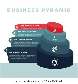 Stacked circular pyramid level stages colorful business infographic that can be used in workflow layout, diagram, business step options, banner, web design.