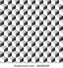 Stacked cubes seamless pattern in black and white.