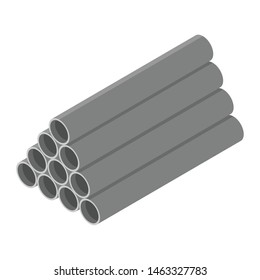 Stacked grey pvc pipes isolated on white background isometric view