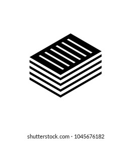 Stacked Pile of Financial Documents. Flat Vector Icon. Simple black symbol on white background