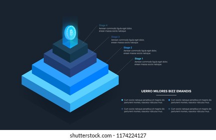 Stacked pyramid level with bitcoin crypto currency light coming out of top. Stages steps  colorful business infographic that can be used in presentations