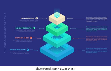 Stacked pyramid level with light coming out of top. Stages steps  colorful business infographic that can be used in presentations