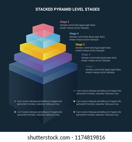 Stacked pyramid level stages colorful business infographic that can be used in presentations