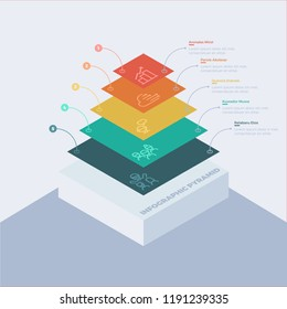Stacked pyramid level stages colorful business infographic that can be used in presentations and various Business templates