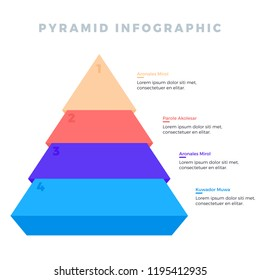 Stacked pyramid level stages colorful business infographic With Numbers and Description. Can be used in presentations and various Business templates
