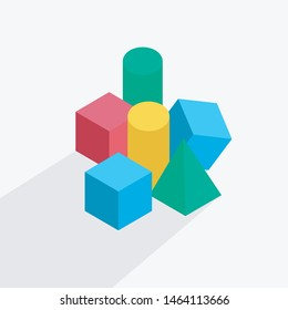 Stacked shapes - cubes, cylinders and pyramid - on the floor. Vector illustration