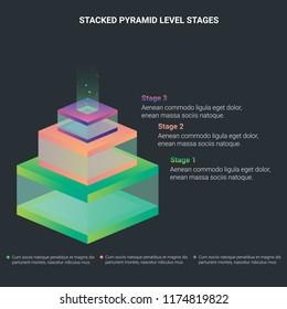 Stacked three pyramid level stages with light on the top colorful business infographic that can be used in presentations