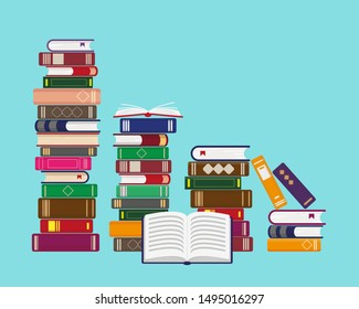 Stacks of books on blue background. Reading, education or bookstore concept. Vector illustration.