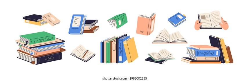 Stacks of books for reading, pile of textbooks for education. Set of literature, dictionaries, encyclopedias, planners with bookmarks. Colored flat vector illustration isolated on white background