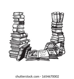 stacks of books with space for text. Hand drawn engraving. Vector vintage illustration. Ex libris Isolated on whitebackground.