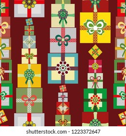 Stacks of bright multicolor Christmas presents in a vertical linear seamless vector pattern on warm red background. Great for giftwrap, scrapbooking, quilting and commercial projects