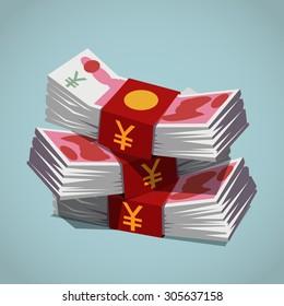 Stacks of Chinese Yuan Banknotes