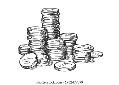 Stacks of coins isolated on white background. Money. Vector hand drawn vintage engraving illustration.