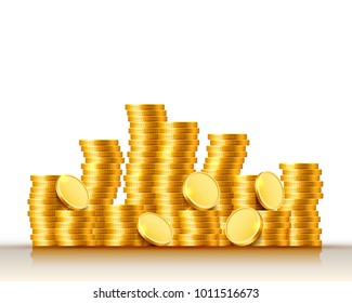 Stacks of coins on the white background. Vector illustration