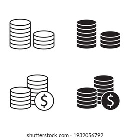 Stacks of coins vector icon set