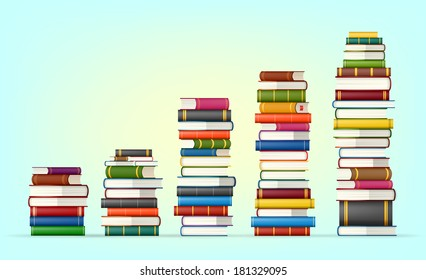Stacks of colorful books, vector illustration background
