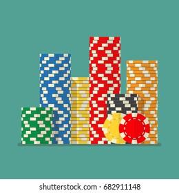 Stacks colorful poker chips. Vector illustration
