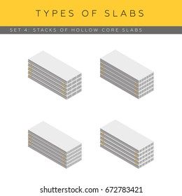 Stacks of concrete hollow core planks. Set of vector isometric icons