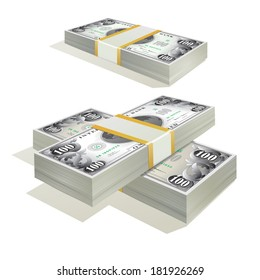Stacks of dollar banknotes. Vector isolated