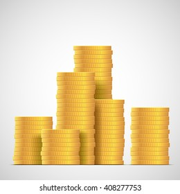 Stacks of gold coins. Income and profits. Isolated on white background. Stock vector illustration.