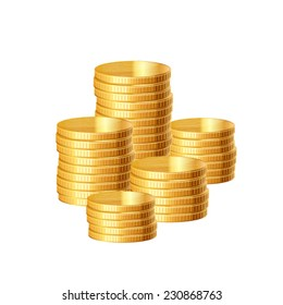 Stacks of gold coins. Vector