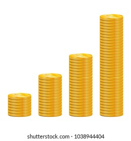 Stacks of gold coins. Vector illustration.