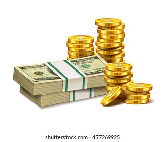 Stacks of golden coins and dollars isolated on a white background.
