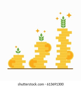 Stacks of golden coins , financial growth concept ,vector.
