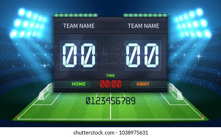 Stadium electronic sports scoreboard with soccer time and football match result display vector illustration