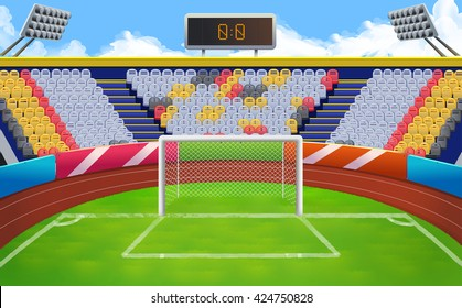 Stadium, football goal vector background