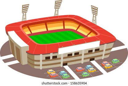 Stadium. Fun cartoon map elements. Elements  are in the separate layers.