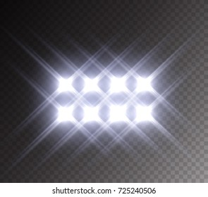 Stadium glowing light. White spotlight stage effect isolated on transparent background. Vector studio beam projector for your design