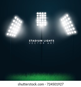 Stadium Glowing Lights Abstract Vector Background