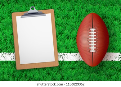 Stadium grass field with Coaching blank clipboard and Australian football or rugby ball. Editable Vector illustration Isolated on background.