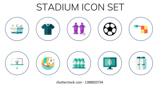 stadium icon set. 10 flat stadium icons.  Simple modern icons about  - football, penalty, referee, table football, grandstand, offside, shin guards