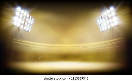Stadium illuminated by floodlights. Abstract vector illustration.