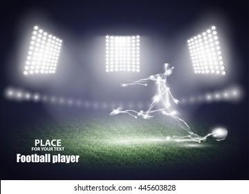 Stadium lights. Motion design. Football player, kick a ball. Three spotlights on a football field. Vector illustration EPS10