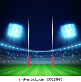 stadium with lights and rugby goal eps 10